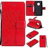 MOONESS Funda Motorola Moto G5 Plus, Lujo Cierre Magnético Flip Cubierta del Tirón Estilo Retro Silicona Tapa PU con Ranuras de Tarjetas(Rojo)