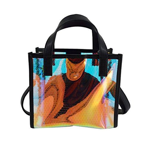 AiSi Damen Mädchen transparente Handtasche Umhängetasche Party-Bag Damenhandtaschen Abendtasche mit Umhängekette durchsichtig schwarz Schwarz