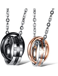 """bigsoho Fashion Stainless Steel Black/Rose gold plating 2 Rings mixed together """"loyal and steadfast"""" """"endless love"""" Men/Women Lover Pendant Couple Necklace"""