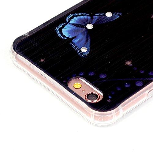iPhone 6 Plus Hülle,iPhone 6S Plus Case - Felfy Ultra Dünnen Weicher Gel Flexible TPU Case Schutzhülle Silikon Ultradünne Malerei Muster Bär Feder Schmetterling Eiffelturm Traumfänger Lichtdurchlässig Blau Lotus