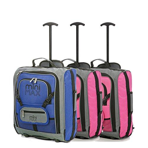 Set di MiniMax bambini / Bambini Deposito avanti trolley valigia con lo zaino e il sacchetto per la vostra bambola preferita / Action Figure / Bear (Blu x2 + Rosa x2) Rosa x2 + Blu