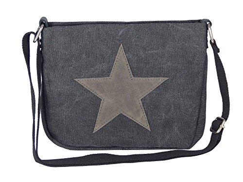 Moderne Canvas Style Umhängetasche - aufgenähter grauer Stern - Vernietung an der Seite -- Maße 27 x 21 x 5 cm /ohne Schulterriemen) - Damen Mädchen Teenager Tasche (schwarz)