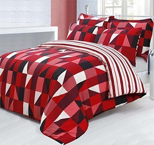 Geometric Stripe Rot Pink Weiß Baumwolle-Mischgewebe Bettdecke Tröster Bezug, Single (Rote Geometrische Tröster)