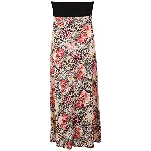 Chocolate Pickle ® Mesdames bandeau avec Contraste Boob noeud imprimé maxi robe Floral Leopard