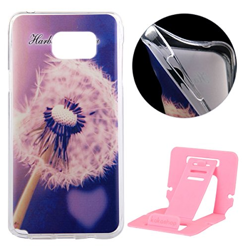 Coque pour Samsung Galaxy S5, Clair Housse en Soft Doux TPU Gel Silicone pour Samsung Galaxy S5, Ekakashop Samsung Galaxy S5 Flexible Souple Cas Back Case Cover de Protection, Ultra Slim Créatif Dessi pissenlit Violet