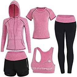 Sokaly Juego de 5 Ropa Gimnasia Yoga Gimnasia Correr Fitness Deportiva Mujer Incluye Manga Larga y Corta, Pantalón, Sujetador, Suave Transpirable Cómodo (Rosa, S)