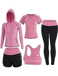 Sokaly 5 Pezzi Yoga Fitness Palestra Running Jogging Completi Sportivi Abbigliamento da Donna