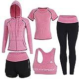 BOTRE 5 Pezzi Tute da Ginnastica Donna Tute Sportive Yoga Fitness Palestra Running Jogging Completi Sportivi Abbigliamento (Pink, Medium)