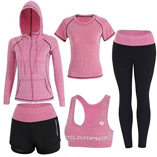 Sokaly 5 Pezzi Yoga Fitness Palestra Running Jogging Completi Sportivi Abbigliamento da Donna (S, Pink)