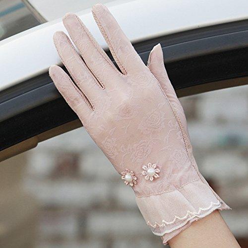 Eizur Femme Été Dentelle Écran tactile Gants protection solaire Gants de conduite Soie glacée Anti-glissant Mince Respirant Protection UV Mariage Court Gants Couleur B-Rose