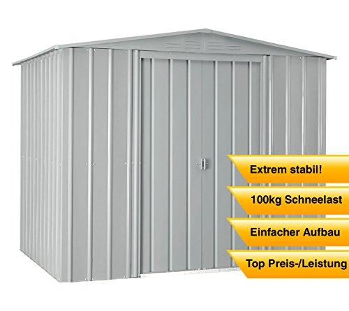Globel Industries Metall Garten Gerätehaus Gartenhaus 8x8 silber metallic // 234x237x198 cm (BxTxH) // 5,5m² // Gerätehaus Metall Satteldach