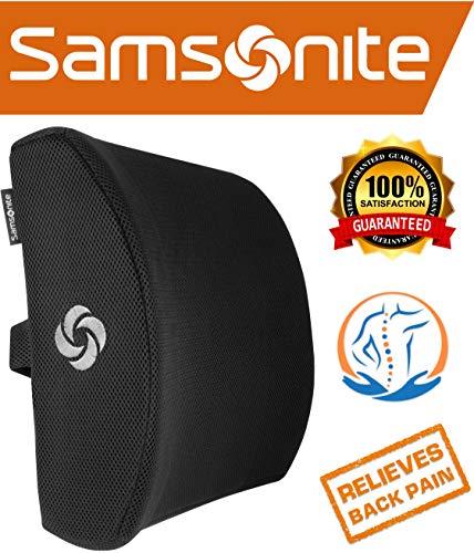 Preisvergleich Produktbild Samsonite SA5243 - Ergonomic Lumbar Support Pillow - Helps Relieve Lower Back Pain - 100% Pure Memory Foam - Improves Posture - Fits Most Seats - Breathable Mesh - Washable Cover - Adjustable Strap