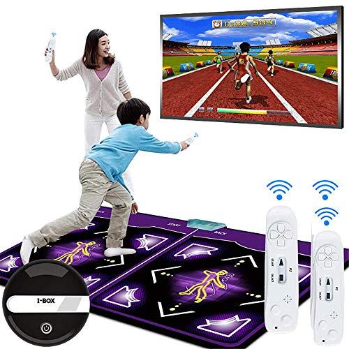 TRAACEM Drahtlose Somatosensorische Zweipersonentanzdecke 3D, PU-Materieller Rüttelnder Yoga-Spiel 64G-Speicher Fernsehcomputer, Erwachsener/Kinder Mit Starkem Schalldichtem Kissen