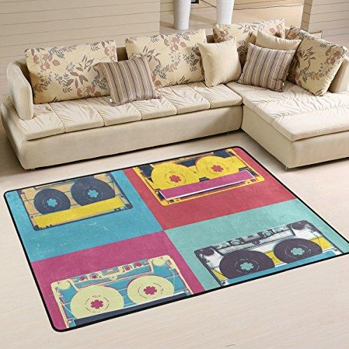 Pop-hintergrund (coosun Audio Kassette Retro Pop Art Musik Hintergrund Bereich Teppich Teppich rutschfeste Fußmatte Fußmatten für Wohnzimmer Schlafzimmer 91,4x 61cm, Textil, multi, 36 x 24 inch)