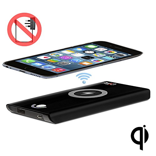 PROT3CH Caricatore Wireless Qi 4000 mAh COMPLETAMENTE WIRELESS Pad Caricabatterie SENZA FILI Set Caricabatterie per Apple iPhone 4 / 4S / 5S / 5C / 6 / 6S / 6 Plus / 6S Plus (Qi Wireless Receiver richiesto)