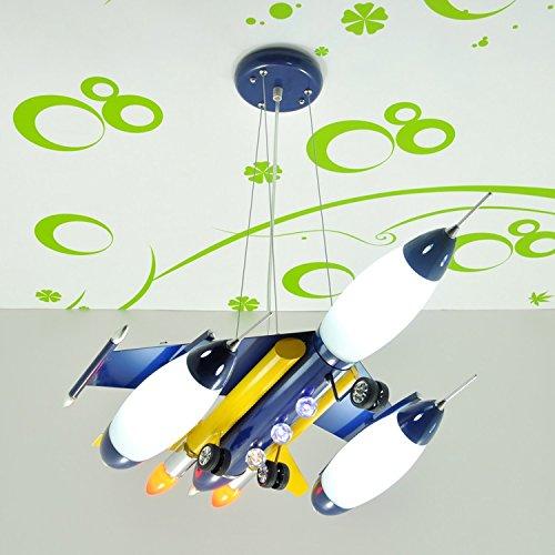 Doppel-Saug-Hängelampe Kinderzimmer Kronleuchter Flugzeug Cartoon Jungen und Mädchen mit Schlafzimmer Deckenbeleuchtung ( farbe : Navy blau )