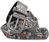 styleBREAKER Nietengürtel im Vintage Design, verschiedenen Nieten und Strass, kürzbar, Damen 03010051, Größe:95cm, Farbe:Antik-Grau