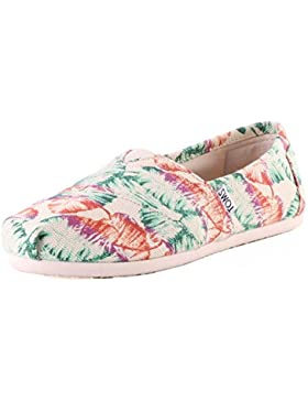 Toms Multi Burlap Printed Tropical Classics Womens Canvas Shoes White Tropical - 35.5 EU