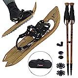 ALPIDEX Schneeschuhe Holzoptik Vintage mit Steighilfe und inkl. Tragetasche - geeignet für Schuhgröße 35 bis 45 ; wahlweise mit oder ohne Stöcke erhältlich, Farbe:Brown Timber - mit Stöcke