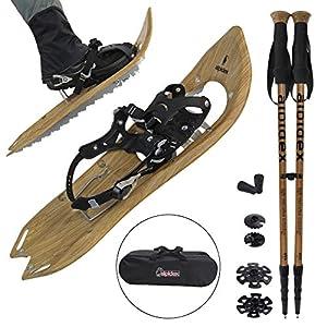 ALPIDEX Schneeschuhe Holzoptik Vintage mit Steighilfe und inkl. Tragetasche – geeignet für Schuhgröße 38 bis 45 ; wahlweise mit oder ohne Stöcke erhältlich