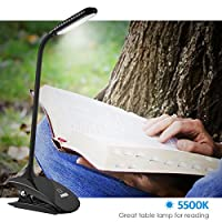 AMIR Clip on Book Light, 3-Level Brightness Reading Lamp, Touch Switch Book Lamp, 360° Angle Flexible and USB Rechargeable Reading Light, Portable desk Lamp with Good Eye Protection Brightness for Readers, Kids, Children, Adapter Not Included (Black) by