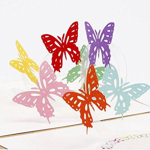 jiamins 3d-Pop-Up-Grußkarten Muttertag Geschenke Muster mit Blume, handgefertigte Karte Einladung Geburtstag Valentinstag Jahrestag Hochzeit, Liebe, Papier, 01 Butterfly, 5.28