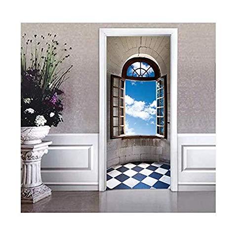 Gewölbte Fenster, Wand (Wohnzimmer Dekoration Aufkleber Vintage Gewölbte Fenster Wand Tür Klebstoffe Tür Diy Poster Schlafzimmer Dekoration Pvc Tür Tapete)