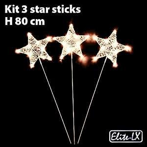 Kit 3Sterne Kleber Papier weiß LED batteriebetrieben 10elite-lx-correction Licht Klassisches Weiß
