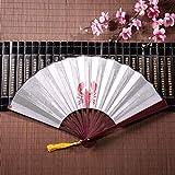 Ventagli cinesi economici a forma di aragosta a forma di simbolo del cuore con telaio in bambù ciondolo con nappa e borsa di stoffa per bambini ventaglio pieghevole a mano ventaglio divertente fan gi