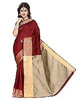 Shonaya Women's Woven Banarasi Art SIlk Red Designer Saree With Unstitched blouse Piece