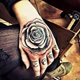 tzxdbh 3Pcs-Étanche Autocollant De Tatouage Temporaire Rose Fleur Tatouage Pied De...