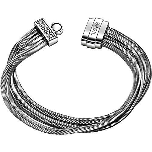 Breil bracciale da donna in acciaio inox con cristallo bianco, 20cm–tj1511