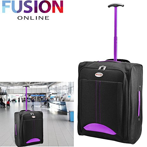 CABIN TRAVEL BAG WHEELED LIGHTWEIGHT SUITCASE HAND LUGGAGE TROLLEY HOLDALL NEW FUSION(TM) (Purple)