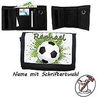 Kinder Geldbörse mit Name / Fußball Geldbeutel / Klettverschluss / Personalisiert / Schriftart Wählbar