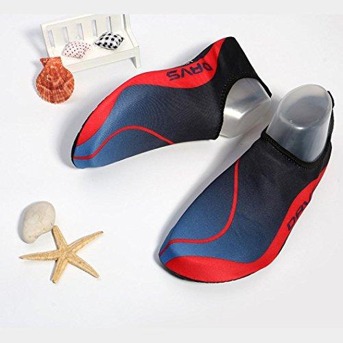 FNKDOR Herren Damen Kinder Aquaschuhe Wasserschuhe Schwimmschuhe Badeschuhe Atmungsaktiv Strandschuhe Surfschuhe (43, Rot)
