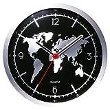 Winni43Julian Wanduhr Modern Design 30cm Wanduhr Digital Glas Wanduhren ohne Tickgeräusche Wanduhr Schwarz Uhr Modern Wand küchenuhren Wanduhr (Weltkarte Muster)