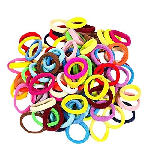 OSYARD 100 Stück Haar Elastische Haargummi Mädchen Kinder Haaraccessoires Pferdeschwanz Halter Haarband (Mehrfarbig)