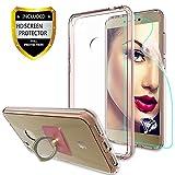 Athchu Funda Huawei P8 Lite 2017 Carcasa con Protector de Pantalla HD + Soporte para teléfono, Funda ultradelgada para Parachoques para Huawei P8 Lite 2017 (5.2') Transparente -CB Oro Rosa
