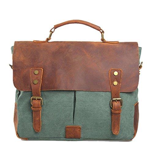 Neue Herren Männer Aktentasche Retro Canvas Schultertasche Herren und Damen schultertasche Messenger Bag School Bag Handtasche 2 Farben (real leder grün) -