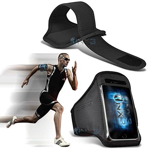 ONX3 LG Volt 3 LS755 Case (Schwarz) Fall-Abdeckung Einstellbare Fitness Laufen Jogging Radfahren Gymnastik-Armbinde-Halter