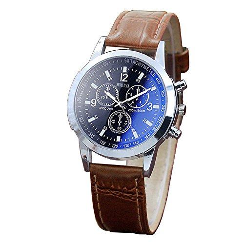 Elospy Herren Uhren Blau Ray GlasArmbanduhr Luxus Männer Uhr Mode Einfach Stil Herrenarmbanduhren Analog Quarzuhren mit Kunstleder Armband Beiläufig Sportuhr für Business Outdoor