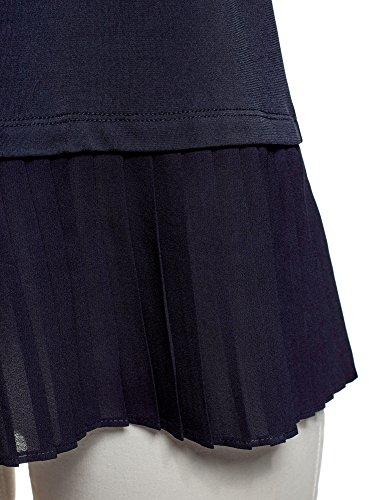oodji Ultra Donna Camicetta in Maglia con Orlo Inferiore Plissettato Blu (7900N)