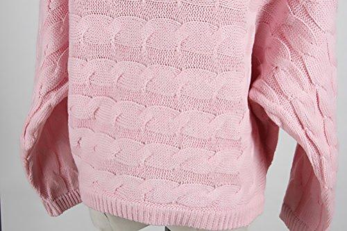 BIRAN Donna Maglia Maglieria Elegante Manica Lunga Manica Pipistrello Sciolto Cucitura Fiore Vintage Moda Casual Autunnale Invernale Maglione Classica Maglioni Pullover Tops rossi