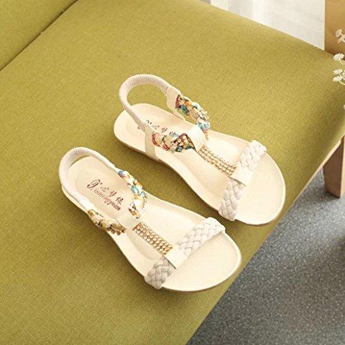 Omiky® Frauen Sandalen Elastische Strap Schuhe Casual Schuhe Sandalen Komfort Sandalen Beige