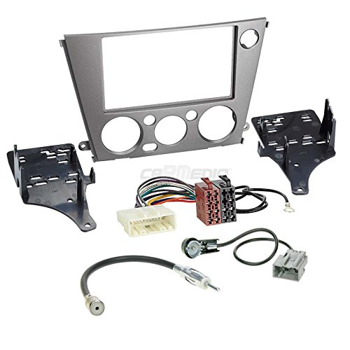 Carmedio Subaru Legacy 05-09 2-DIN Autoradio Einbauset in original Plug&Play Qualität mit Antennenadapter Radioanschlusskabel Zubehör und Radioblende Einbaurahmen anthrazit