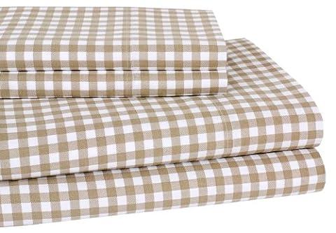 Elite Home 300 Thread Count Harvard Check Print 100-Percent Cotton Sateen 4-Piece Sheet Set, California King, Tan