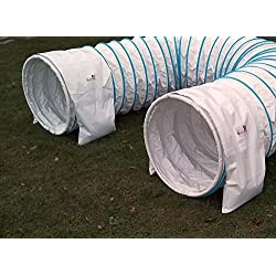 Doble ración sacos túnel Callieway® – 2 alforjas para tunéles agility blanco en bianco