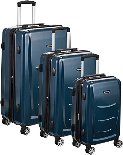 AmazonBasics Hartschalen-Trolley - 3-teiliges Set (55 cm, 68 cm, 78 cm), Navy Blau