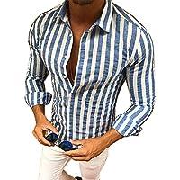 Msliy Camisa de Hombre Soporte de Cuello a Rayas Camisa Casual Moderna de Manga Larga Otoño Primavera