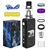 Cigarette électronique Kit Complet Box Mod Fredest 7-80W Résistance 2500mAh Batterie Lithium Ion 18650 Rechargeable 0,2 ohm Remplissage par le haut Réservoir 2ml Atomiseur TC E Cig Sans Nicotine (Noir)